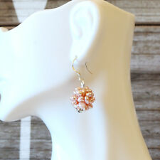 Artisan crafted Freshwater Pearl Flower Ball Earrings