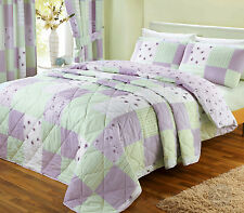 Shabby Chic Patchwork Bedspread - Floral Lilac & Green Soft Quilted Bed Spread