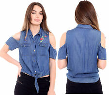 Womens Ladies Denim Look Cold Shoulder Embroidered Button Down Shirt Top Blouse