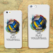 keep calm and play volleyball hard transparent clear Skin Cover Case for  iPhone