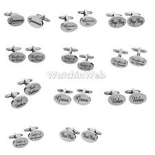 Wedding Gifts Men Shirt Cufflinks Oval Silver Cuff Links Accessories