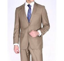 Bertolini Classic Fit Camel Two Button Two Piece Suit Wool & Silk