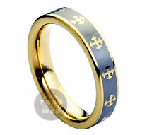 Ladies 5mm Pipe Cut Tungsten Ring w/ Celtic Crosses Laser Engraved Design TS1080