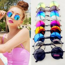 Retro Hippie Lens Silver Frame Round Circle Lens Reflective Sunglasses TOP LKP
