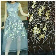 Colorful Embroidery Floral Tulle Fabric Dress Lace Wedding Show Gowns 51''/ Yard