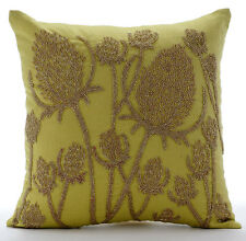 Paddy Millet Green Cotton Linen Throw Cushion Covers 45x45 cm - Greentini