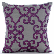 Grey Cotton Linen 55x55 cm Beaded Purple Damask Cushions Cover - Orchid Moment