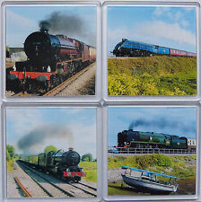 Photo Drink Coasters Set of 4 Mainline Steam Locomotives  Quality Clear Acrylic