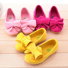 Girls Kids Princess Shoes Bow Candy Color Soft Flat Anti-slip Loafers Sandals