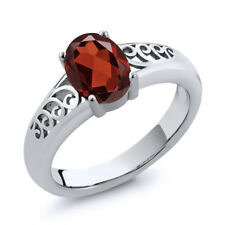 0.90 Ct Oval Red Garnet 925 Sterling Silver Ring