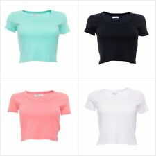 Women's Brave Soul Cropped Scoop Neck T-Shirt Crop Top in Black Pink White Mint