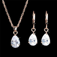 Gold Plated Pear Drop Necklace Pendant Crystal Earrings Girls Women Jewelry Set