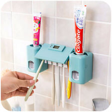 Bathroom Clock Automatic Toothpaste Dispenser Toothbrush Holder Wall Mount Rack