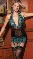 Sexy Green Lace Black Sheer Lingerie Mini Dress + Suspenders Sizes: 14 & 16
