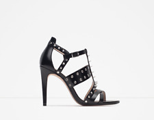 ZARA BLACK HIGH HEEL SPIKED STUDDED SANDALS - NEW WITH TAGS!