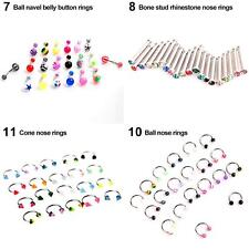 20 Pcs Eyebrow Lip Tongue Nose Navel Belly Button Rings Body Piercing Popular
