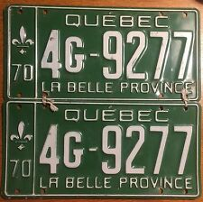 ★•☆•★▄▀▄▀▄█▓▒ AUTHENTIC CANADA 1970 QUEBEC PAIR OF LICENSE PLATES.