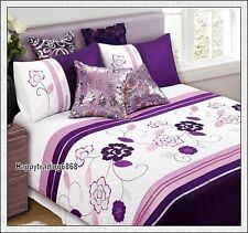 Dark Purple Pink White Flora Embroidery KING QUEEN SINGLE QUILT DOONA COVER SET