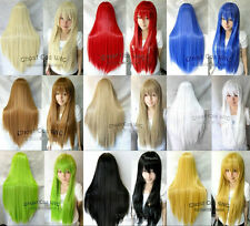 """80CM/32"""" Long Straight Cosplay Fashion Wig Heat Resistant with Cap Liner"""