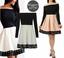 Womens Ladies Bardot Off Shoulder Contrast Lace Hem Pleated Skater Dress UK 8-18