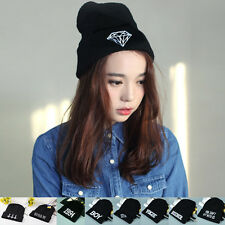 Women's Men's Hat Warm Winter Unisex Knit Cap Fashion Hip-hop Beanie Hats Black