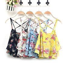 Women Floral Flower Summer Loose Casual Chiffon Sleeveless Vest Shirt Top Blouse
