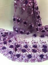 3D Flowers Pearls Embroidery Scolloped Sequins Lace Fabric Dress GownS 51''/Yard