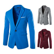 Mens Slim One Button Casual Blazer Suit Coat Jacket Two Pockets Solid Color Tops