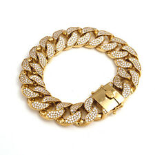 Miami Cuban Link Curb Chain Bracelet Solid 18mm CZ 14k gold box clasp 8in-9in