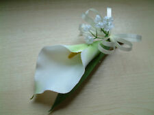 Wedding Flowers - Ivory Calla Lily Buttonhole, Corsage