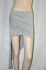 Sexy Heather Grey Uneven Hem Ruched tight Fitted clubbing mini Skirt Party New
