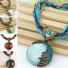 Jewelry Gem Crystal Multilayer Beads Chain Handmade Bohemia Style Necklace fo