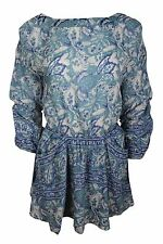 Free People Blue White Floral Cut Out Back A-line Mini Dress Women $128 NWT