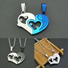 Unisex Lover Couple Necklace I Love You Heart Pendant Stainless Steel Gift Hot