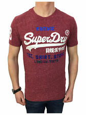 Superdry Mens Shirt Shop T-Shirt in Ruby Wine Snow Small