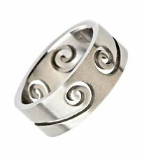 8mm Swirl Cut-Out 316L Surgical Stainless Steel Ring Size