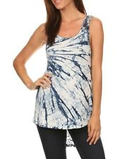 T Party Blue & White Tie Dye Hi Lo Tank Top with Lace Back