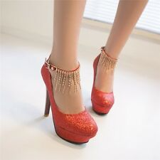 New Womens Anklet Platform High Heels Bridal Wedding Prom Paty Ankle Strap Shoes