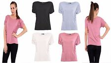 Womens Ladies Ruffle Frill Pleated Detail Short  Sleeve T-Shirt Top Plain