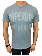 Superdry Mens Small Authentic Rebel Tee T-Shirt in Overdyed Mid Blue Marl