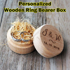 Personalized Engraving Round Wooden Wedding Ring Box  / Custom Ring Bearer Box