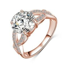 USA Austrian Crystal Gold/Silver Plated Ring Fashion Women Wedding Promise Ring