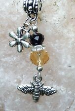 Honey Bee jewelry, Bee Necklace, Bumble Bee, Crystals, 925 Silver Chain