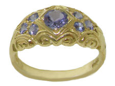 Solid 9K Yellow Gold Natural Tanzanite Vintage Style Band Ring