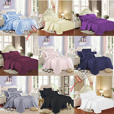 PLAIN DYED FITTED BED SHEET SINGLE DOUBLE KING SUPER KING SIZE PILLOWCASE PAIR..