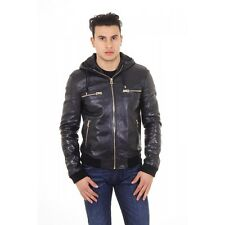 Dolce & Gabbana Men's Hooded Leather Jacket BLACK