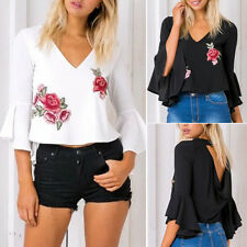Women's Fashion Casual Summer Floral Embroidery V-Neck Floral Sexy Blouse Tops