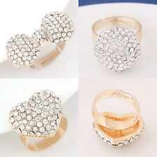 Diamante Rhinestone Crystal Dome Heart Bow Party Bling Adjustable Ring