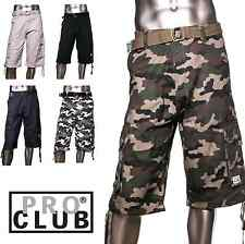 1 NEW PROCLUB TWILL CARGO SHORT PANTS PRO CLUB COLOR WAIST SIZE 30 - 64 1PC