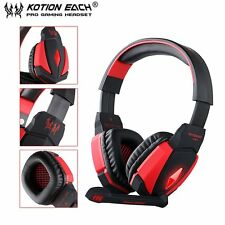 G4000 USB Stereo Gaming Headphone Microphone Volume Control LED Light PC Game LN